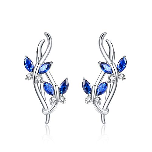 Schmetterling Kletterer Ohrringe Sterling Silber blau Schmetterling Infinity Ohr Manschette Wrap Crawler Kletterer Ohrstecker für Damen Mädchen (blaue Schmetterlingsohrringe)