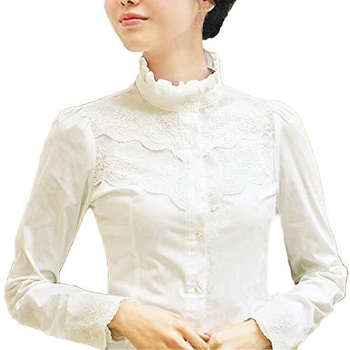 Blusa para mujer, de mangas largas, de invierno, diseño con encaje, estilo victoriano y vintage, para la oficina Blanco blanco Talla 38 (Talla del fabricante: M)