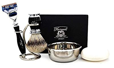 5 Piece Men's Grooming Set in Black. The Set Includes Pure Sliver Tip Shaving Brush, 5 Edge Razor, Brush & Razor Holder/Stand, Stainless Steel Bowl and Soap