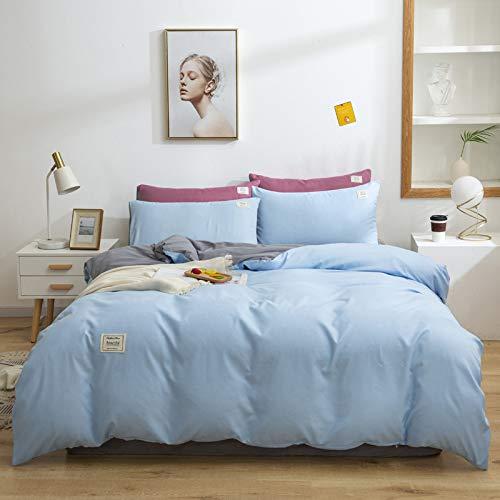 GYHJG Juego de funda de edredón y funda de almohada de algodón puro para cama individual, doble, de algodón cepillado de 4 piezas
