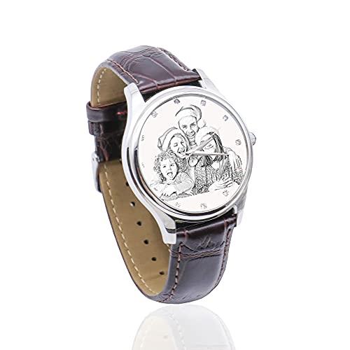Reloj con Foto Personalizado con Diamantes Reloj De Pulsera Personalizado con Imagen Propia Reloj con Foto Personalizado Regalo para El Día del Padre para Hombres(Marrón-Bosquejo-Mujeres 24cm)