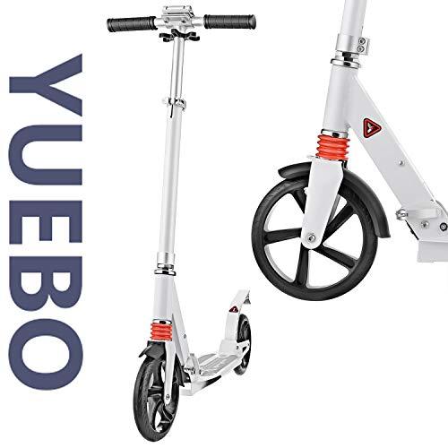 YUEBO Tretroller Erwachsene Kickroller Roller Kinder ab 10 Jahre Cityroller Big Wheel Scooter höhenverstellbar und klappbar,bis 100kg belastbar