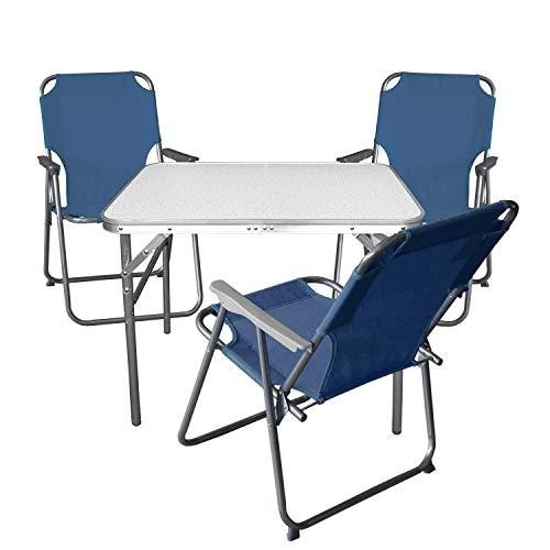 Multistore 2002 4tlg. Campingmöbel Set Klapptisch, Aluminium, 55x75cm + 3X Campingstuhl, blau/Strandmöbel Campinggarnitur Gartenmöbel
