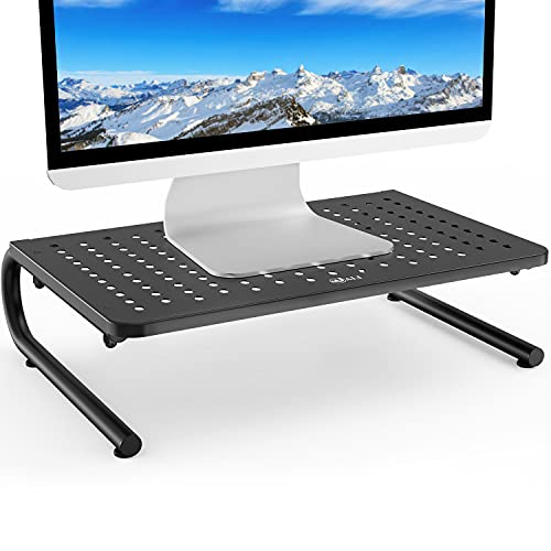 WALI STT001 Monitor Stand Riser for Computer, Laptop, Printer, Notebook and All Flat Screen Display with Vented Metal Platform and 4 inches Height Underneath Storage, 1 Pack, Black