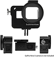 Aluminum Case Frame (Black) for GoPro Hero 7 Black Hero 6 Hero 5 with 52mm UV Filter Skeleton Housing with Microphone Mic Mount for Go Pro Hero7 Black Hero6 - Best Protection for GoPro by SublimeWare