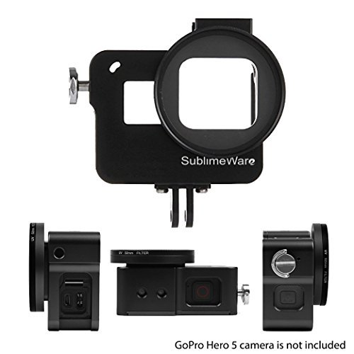 Aluminum Case Frame (Black) for GoPro Hero 7 Black Hero 6 Hero 5 with 52mm UV Filter Skeleton Housing with Microphone Mic Mount for Go Pro Hero7 Black Hero6 - Best Protection for GoPro by SublimeWare