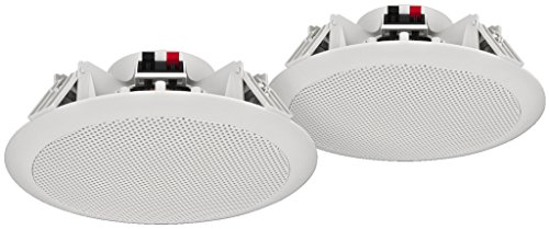 MONACOR SPE-284/WS wetterfestes ELA Deckenlautsprecher-Paar mit 2-Wege System und Kalottenhochtönern, Deckeneinbau-Lautsprecher temperaturfest bei bis zu 100 Grad Celsius, in Weiß