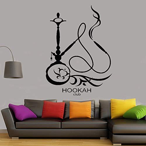 yaonuli Shisha Club Vinyl Kunst Wandaufkleber Shisha Rauch Muster Arabischen Wandaufkleber Wohnzimmer Dekoration Abnehmbare Tapete 63X46 cm