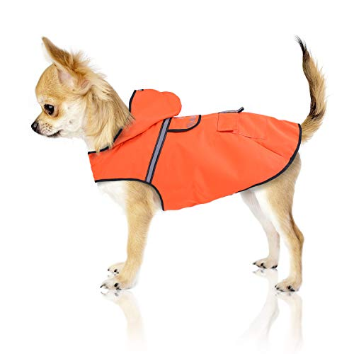 Bella & Balu Hunderegenmantel – Wasserdichter Hundemantel mit Kapuze und Reflektoren für trockene, sichere Gassigänge, den Hundespielplatz und den Urlaub mit Hund (XS   Orange)