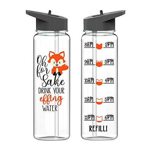 miuse Trinkflasche Sport 720ml, BPA-Frei Cartoon Muster Kunststoff Strohbecher mit Deckel Große Kapazität Breite Mund Trinkflasche für Kinder, Mädchen, Schule, Sport, Wandern, Camping(Fuchs)