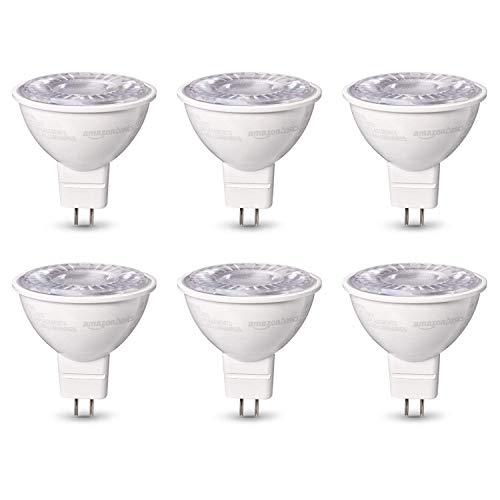 Amazon Basics 50W Equivalent, Daylight, Dimmable, 10,000 Hour Lifetime, MR16 (GU 5.3 Base) LED Light Bulb | 6-Pack