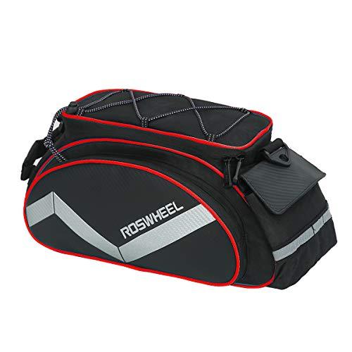 LOCAL LION Gepäckträgertasche für Fahrrad wasserdichte Fahrradtaschen für Gepäckträger Mountainbike schwarz rot