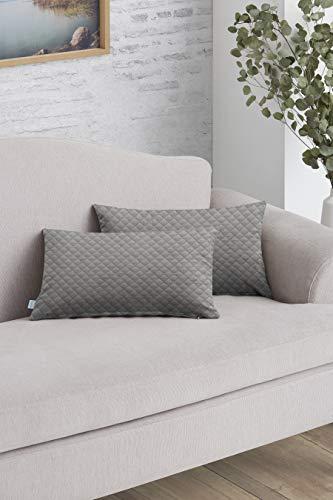 EasyCosy - 2 Pack Federe Cuscini per Divano Decorativo Adele - Tessuto Imbottito - 30x50cm - Idealie per Decorare Il Tuo Divano- Colore Grigio (Non Include Imbottitura)