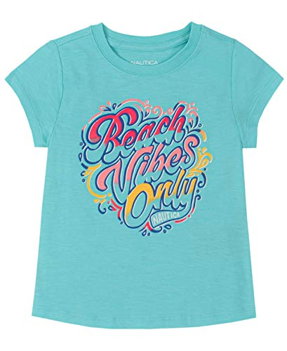 Nautica Short Sleeve Graphic tee Shirt Camiseta, Gema Turquesa, 36 para Niñas