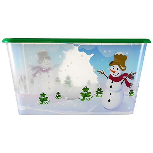SimplyKleen 14.5-Gallon Christmas Storage Containers with Lids, Snowman Winter (Pack of 4)