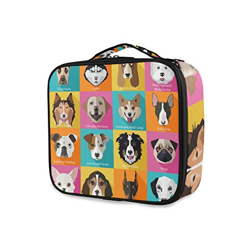 Cartoon Dogs Breed Icons Pochette de toilette Portable Organizer Tools Cosmetic Train Case Travel Makeup Bag Storage
