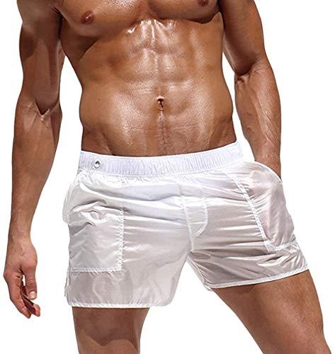 HaiDean Herren Badehose Schnelltrocknend Beachshorts Boardshorts Bermuda Badeshorts Modernas Durchsichtig Freizeit Shorts 8 Farben (Color : Weiß, One Size : L)