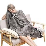 Heizdecke Liang Super Soft - Manta de microfibra de 100 x 90 cm con calefacción, lavable a máquina, para sofá, cama, viaje, color gris