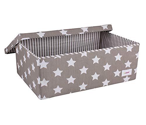 Minene 1248 Aufbewahrung Box Groß, Grau mit weißen Sternen, 60 x 40 x 25 cm