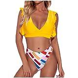 OTGOPS Bikini dividido para mujer, con cordón y estampado de un solo color, tirantes estampados, sexy, a rayas, dos piezas (S/M/L/XL) amarillo XL