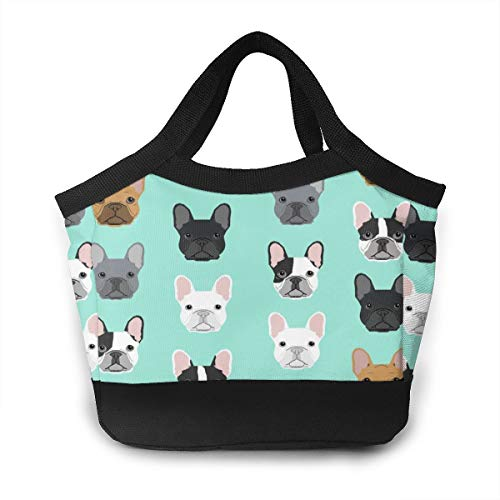 Lunch Bag - French Bulldog Sweet Dog Puppy Puppies Dog Gourmet Lunchbox Organizer for Gym Hiking Picnic Travel Beach, Women Men And Kids Lunch Organizer Handbag Leakproof Grocery Container