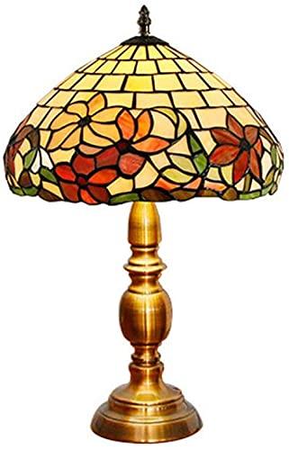 Lámpara de mesa estilo tiffany, moderno sala de estar escritorio lámpara flores hecho a mano patrón arte rural manchado de cristal clásico dorado metal base de noche de noche