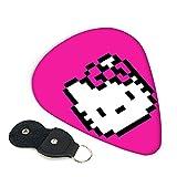 Hello Kitty Cartoon Anime Cute Cat Guitar Picks 6 Pack con púas, soporte para guitarras únicas regalo para los amantes de la música, fácil pegar, seleccione varios tamaños de púas0,71 mm
