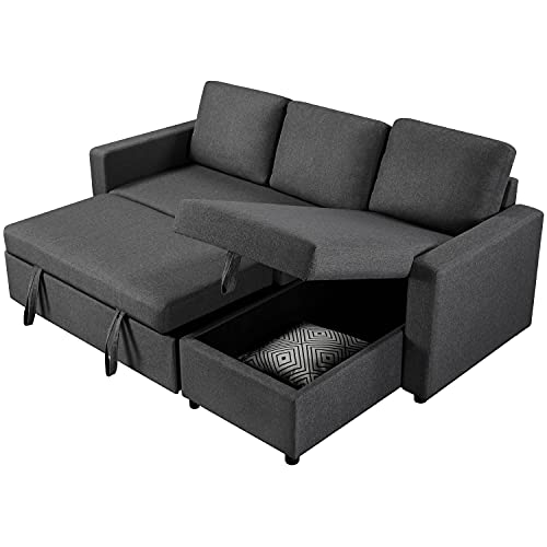 Yaheetech Modern Sectional L-Shaped Sofa Couch Bed w/Chaise, Reversible Couch Sleeper w/Pull Out Bed & Storage Space, 4-seat Linen Fabric Convertible Sofa, Suitable for Living Room/Limited Spaces Gray