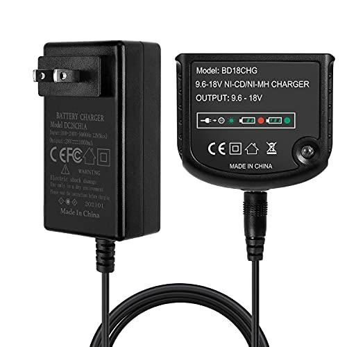LUSAF 9.6V-18V Battery Charger Compatible with Black and Decker 9.6V 12V 14.4V 18V Ni-MH Ni-Cd Slide Style Batteries HPB18-OPE HPB12 HPB14 HPB18 FSB14 FSB18 FSB96 FS120 HPB96
