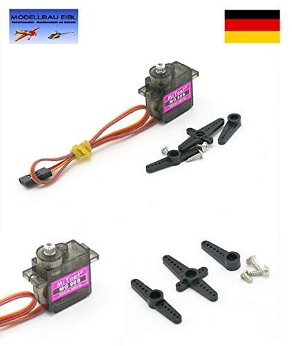 Modellbau Eibl® MG90S Metallgetriebe Servo Turnigy 13g 2 kg 0.11 sec Micro Mini Servo für Helikopter, Flugzeug, Auto UVM.