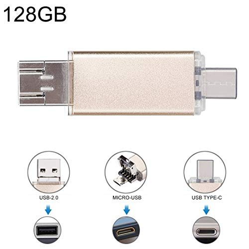 LYNHJCData Cable Data Traveler 128GB 3 in 1 USB-C/Type-C + USB 2.0 + OTG Flash Disk, for Type-C Smartphones & PC Computer(Gold) (Color : Gold)