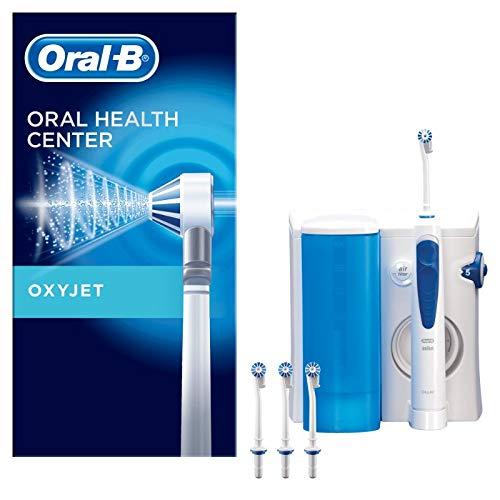 Oral-B Oxyjet Munddusche für gesünderes Zahnfleisch, mit Mikroluftblasen-Technologie, 4 Ersatzdüsen, weiß/blau