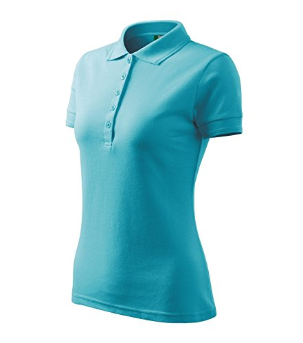 Adler Polohemd Poloshirt für Damen Pique Polo 200 türkisblau Größe M