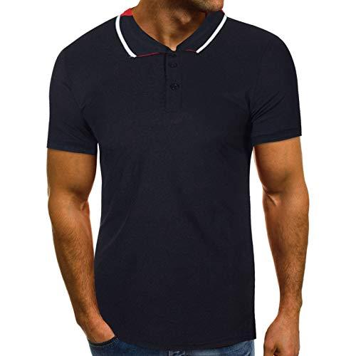 Poloshirt Polo Shirt Herren t Shirt Damen Polo T-Shirt Top Bluse Männer Mode Persönlichkeit Sommer Casual Slim Kurzarm (L,Schwarz)