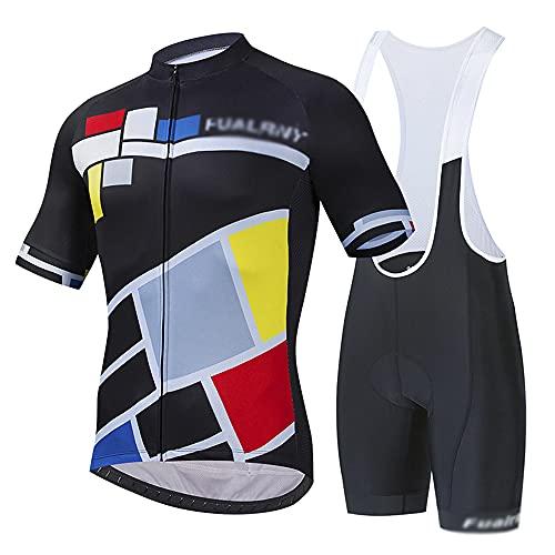Traje de Deporte al Aire Libre Jersey de equitación Ropa Deportiva de Manga Corta Jersey + Correa Pantalones Cortos Primavera y Verano Transpirable y de Secado rápido(Size:XX-Grande,Color:Negro)