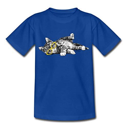 P.D. Moreno Liegende Katze mit Brille Kinder T-Shirt, 122-128, Royalblau