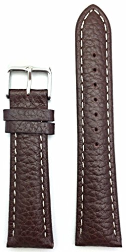 22mm Brown Genuine Leather Watch Band | Buffalo Shrunken Grain, Medium Padded Replacement Wrist Strap that brings New Life to Any Watch (Mens Standard Length)