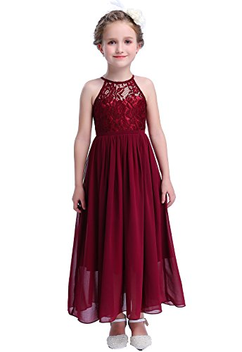 Happy Rose Girls Lace Party Wedding Long Chiffon Junior Bridesmaid Dress Wine 10