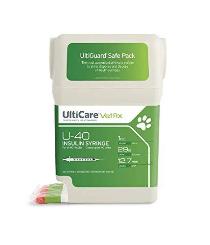 "UltiCare VetRx U-40 UltiGuard Safe Pack Pet Insulin Syringes 1cc, 29G x 1/2"", 100ct"