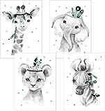 LALELU-Prints | A4 Bilder Kinderzimmer Deko Mädchen Junge | Zauberhafte Indianer-Tiere Boho Feder mint | Poster Babyzimmer | 4er Set Kinderbilder (DIN A4 ohne Rahmen)