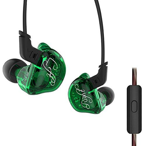Triple Driver in-Ear Headphones, KZ ZSR High Fidelity Dynamic Hybrid Earbuds(Earphones) (Green with Mic)