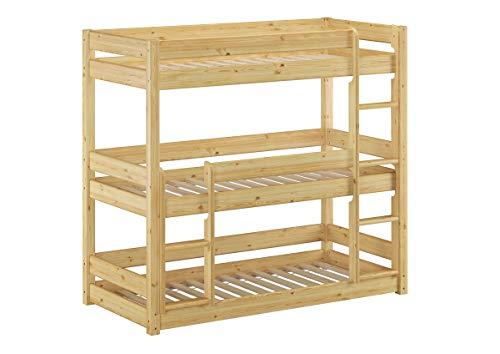 Erst-Holz® Dreier-Etagenbett für Erwachsene Stockbett für DREI Personen 90x200 Kiefer Massivholz V-60.03-09, Ausstattung:Rollrost inkl.