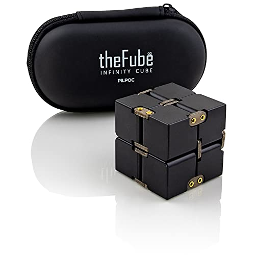 PILPOC theFube Infinity Cube Fidget Desk Toy - Premium Quality Aluminum Infinite Magic Cube with Exclusive Case, Sturdy, Heavy, Relieve Stress and Anxiety, for ADD, ADHD, OCD (Black)