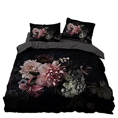 GFKJ Bloemenverhaal dekbedovertrek, 3 stuks luxe soft beddengoed dekbedovertrek set met ritssluiting, zachte microvezel…