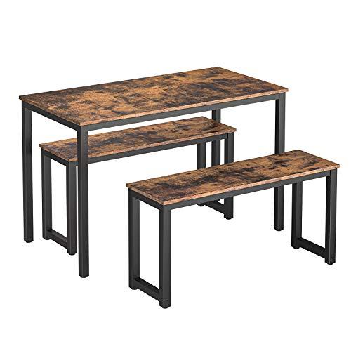 HOOBRO Esstisch-Set, Rechteckiger Küchentisch mit 2 Bänke für 4 Personen, Stabil Metall Regale, einfacher Aufbau, Industrie-Design, für Esszimmer, Küche, Dunkelbraun EBF21CZ01