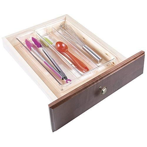 mDesign Cubertero para cajón Extensible – Organizador de Cubiertos para cajones – Separador de cajones para Diversos Utensilios de Cocina – Color: Transparente – 3 Compartimentos