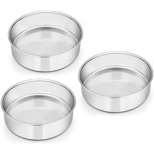 6 Inch Cake Pan Set of 3, E-far Stainless Steel Round Smash Cake Baking Pans, Non-Toxic & Healthy, Mirror Finish & Dishwasher Safe