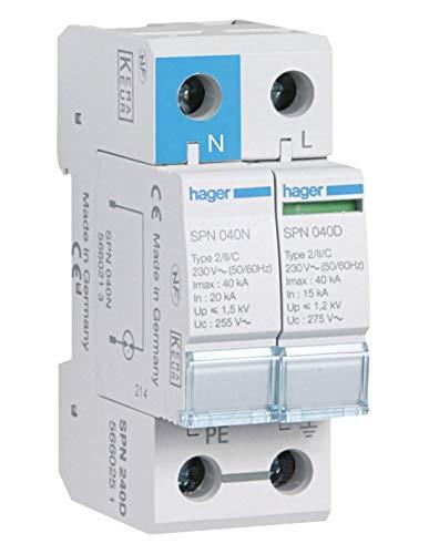 Hager spn240d–Limiter Überspannungsschutz 1-polig + neutral 40KA 275V 60Hz