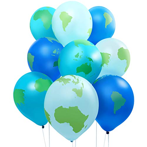 Earth Day Decorations, Globe Balloons (12 Inches, 50 Pack)