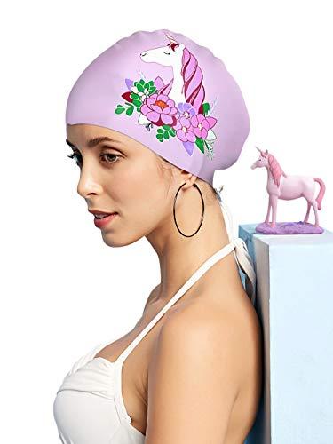 FUNOWN Silikon-Badekappe für Damen, wasserdicht, langes Haar, speziell Bedruckt, 3D, ergonomisches Design, Bequeme Passform, Silikon-Badekappe für Dreadlocks (Einhorn, Violett)
